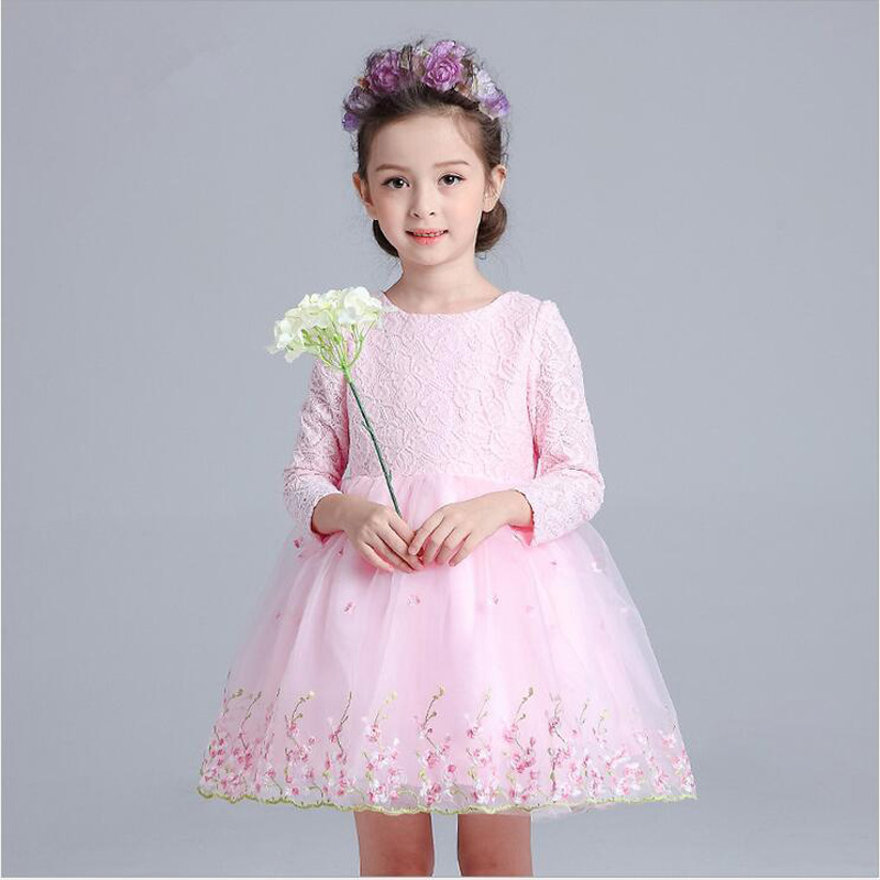 Christmas Girls Party Dress Long Sleeve Flower Girl Dresses For Wedding Party Tutu Princess Dress Age 3-12 Years Girls Clothes