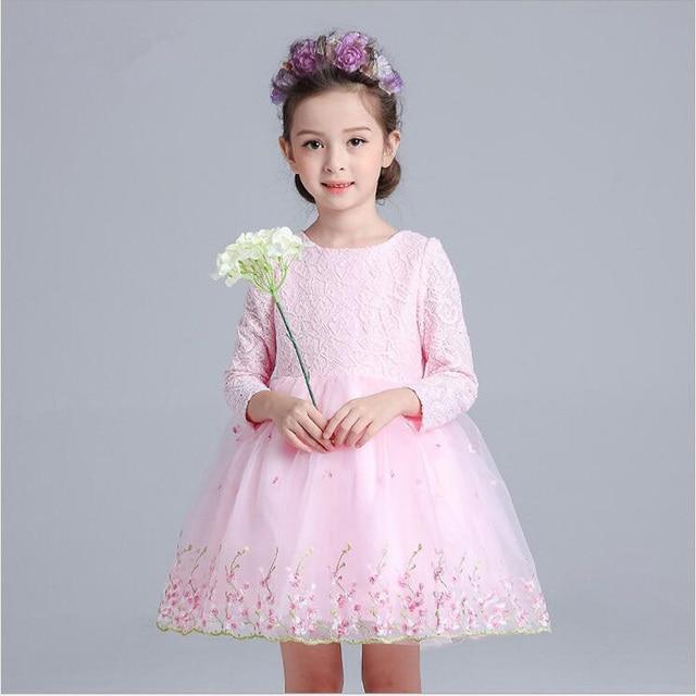 Christmas Girls Party Dress Long Sleeve Flower Girl Dresses For ...
