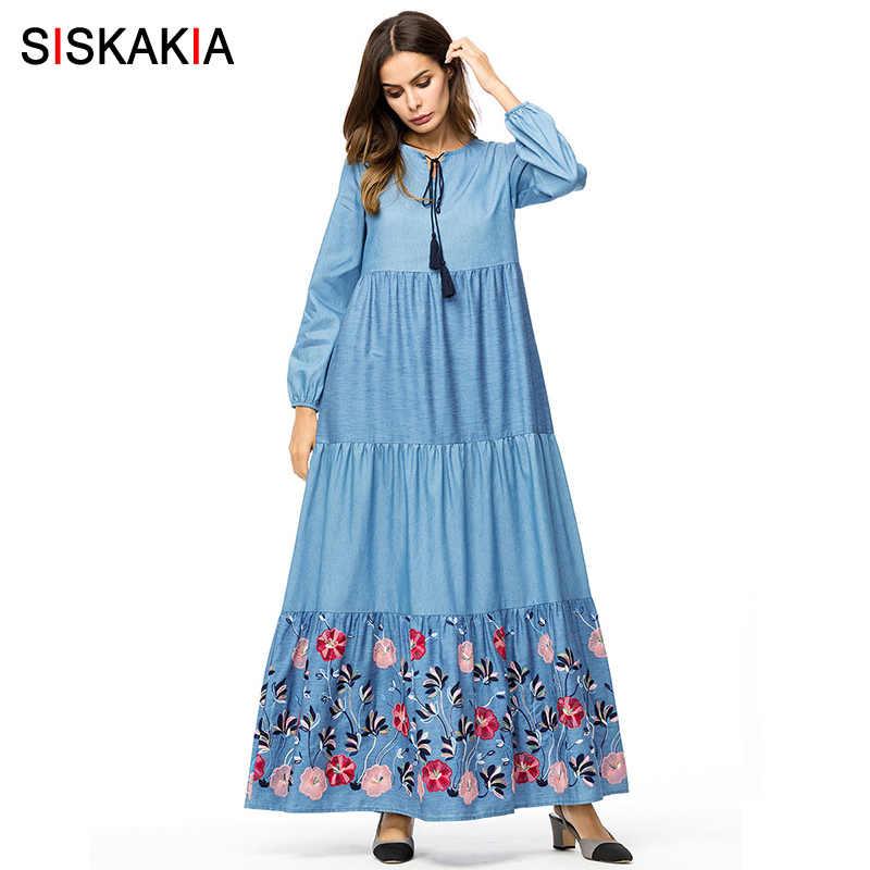 Siskakia Denim long dress for women Tall maxi dresses fashion color block  Floral Embroidery swing dress a1d039b73604
