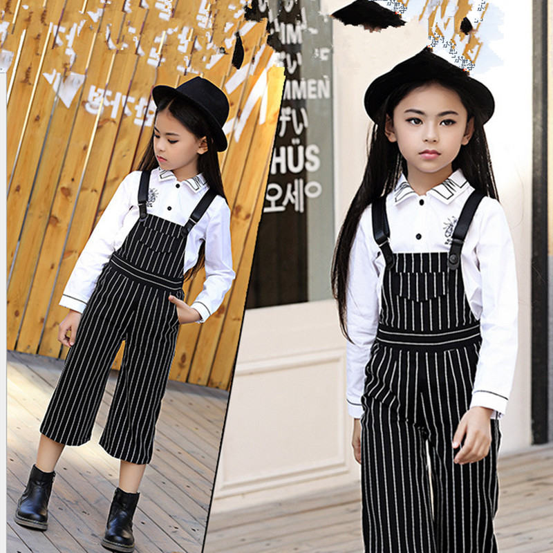 2016 Newest Baby Girls t shirt + Bib pants 2pcs Suits Children's clothing set Striped Kids overalls cartoon  christmas gifts casual autumn baby children kids infants girls long sleeved t shirt tops overalls bib long pants 2pcs clothing set suits mt989