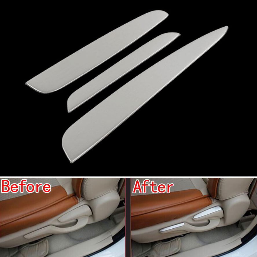 For Toyota Corolla 2014-2015 Car Styling 3Pcs Stainless Steel Car Seat adjust Switch Wrench Decoration Cover Trim Moulding Strip