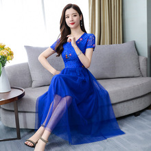 New Style Fashion Women Slim Embroidered Lace Summer Wear Long Type Beach Dress