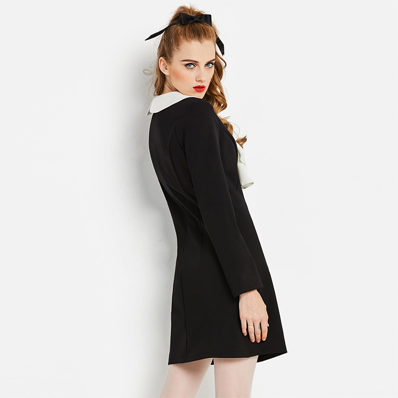 003d4bb85d6d Sisjuly White Ruffle Neck Dress Black Elegant Work Dress Long Sleeve Solid  Office Lady A Line Women Spring Winter Dresses-in Dresses from Women's  Clothing ...