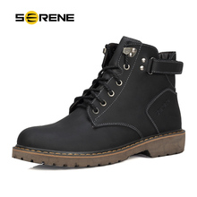 SERENE Fashion Boots Men Winter Martin Casual Shoes British Style Tooling Desert Outdoor Work Botas 3109