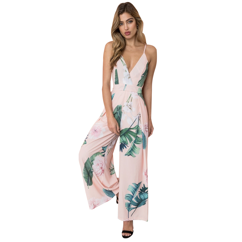 Anself Summer Vacation 2018 Spaghetti Strap Overalls Boho Tropical Palm Leaf Print Shirred Wide Leg Cami Palazzo Women   Jumpsuit
