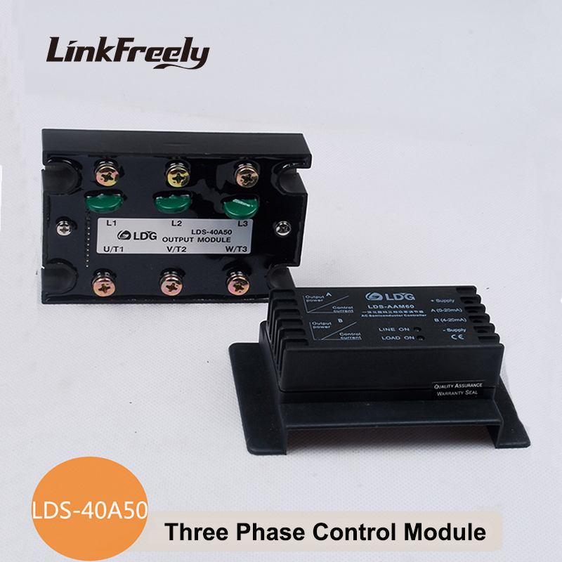 цена на LDS-40A50 SSR Solid State Relay 50A 400VAC Soft Starting Motor Controllers 3-Phase Analog Power Control Module Voltage Relay