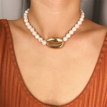 Bohemian Simulated Pearl Choker Necklace For Women Elegant Alloy Big Shell Collar Statement Jewellery Wholesale