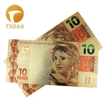 Brazylia 10 Reals pozłacane banknot Home Decor kolekcjonerski kolorowy złoty banknot tanie i dobre opinie TSDAS Ludzi Z tworzywa sztucznego Europa gold banknote gold foil + pet Souvenir home decoration 100pcs opp bag