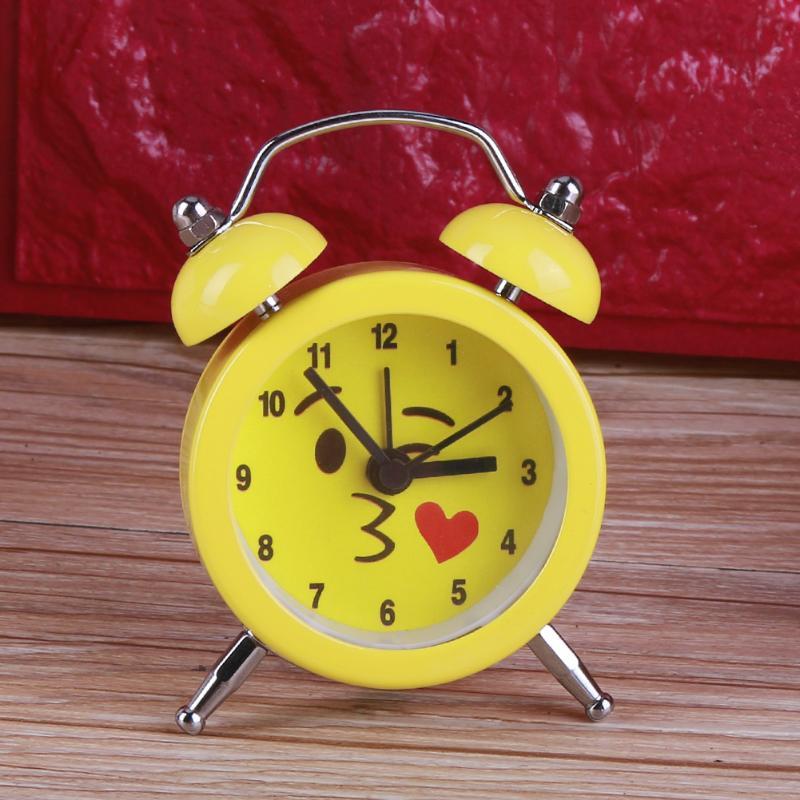 Student Alarm Clock Cute Expression Cartoon Round Bedroom Bell Alarm Clock Home Quartz Clock Home Decoration Clock