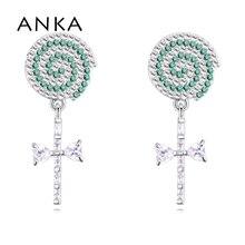Купить с кэшбэком ANKA lollipop cubic zirconia earrings bohemian starlight piercing micro clear zircon women earrings fashion jewellery #130267