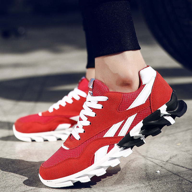 Plus Size 49  Adult Mix Color Men Breathable Casual Shoes Wave Blade Bottom Sneakers Massage Sole Men Summer Shoes Mesh Red 15