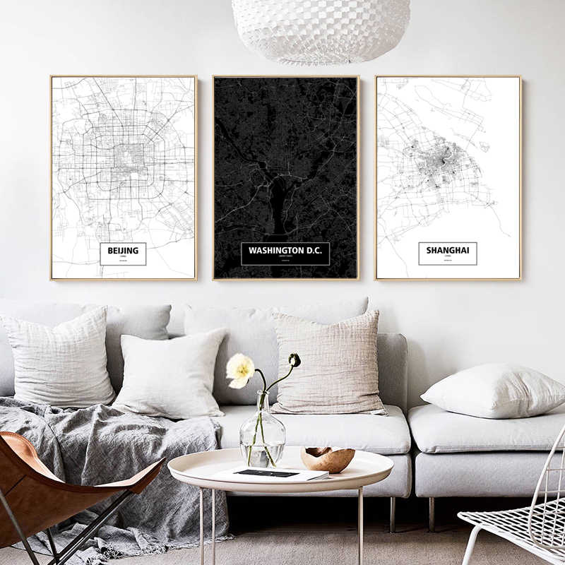 Simple Black And White City Line Map Beijing Shanghai Washington Canvas Painting Art Print Poster Picture Wall Home Decoration