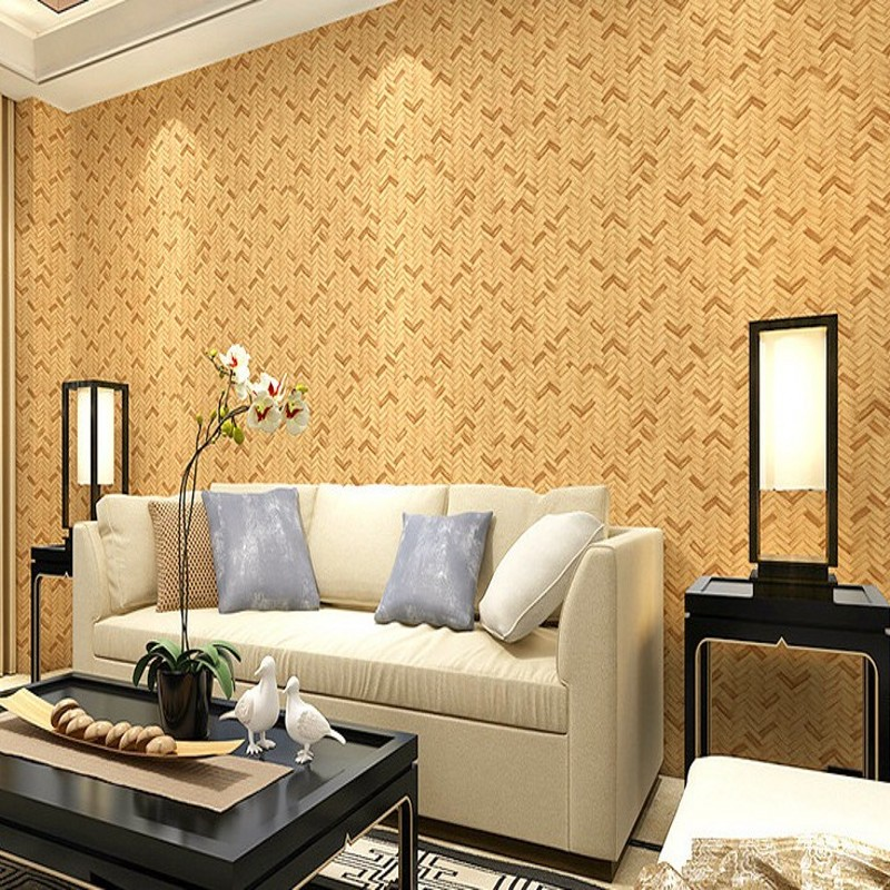 Free Shipping Chinese style imitation bamboo rattan wallpaper bedroom living room restaurant background study teahouse wallpaper rattan aisle study teahouse bamboo