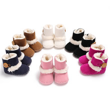 Winter 0-1 year old boy and woman buttons, snow boots, velvet, soft bottom, antiskid baby shoes, toddler shoes.C-393(China)
