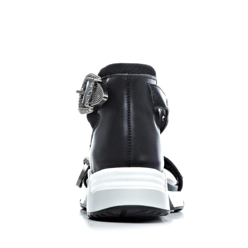 Sandalias Casual Mujeres Casuales Ribetrini 2019 Plataforma Las Cuñas Comodidad Metal Diseño Decorar Genuino Negro Cuero Mujer Marca blanco De Nueva Zapatos qzfw6