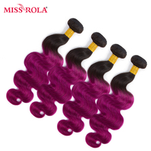 Miss Rola Hair Pre-colored Ombre Peruvian Body Wave Non-Remy Hair 4 Bundles #T1B/Purple Color  Human Hair Weaving  Extensions