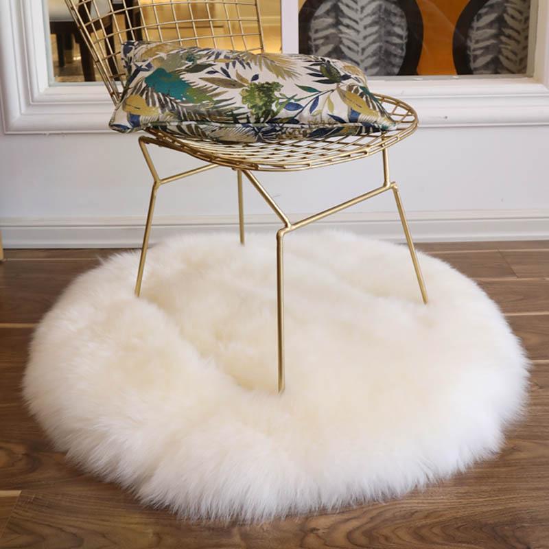 natural sheepskin fur rug shaggy chair pad big size round shaped seat cushion fur coffee table floor mat winter warm mat