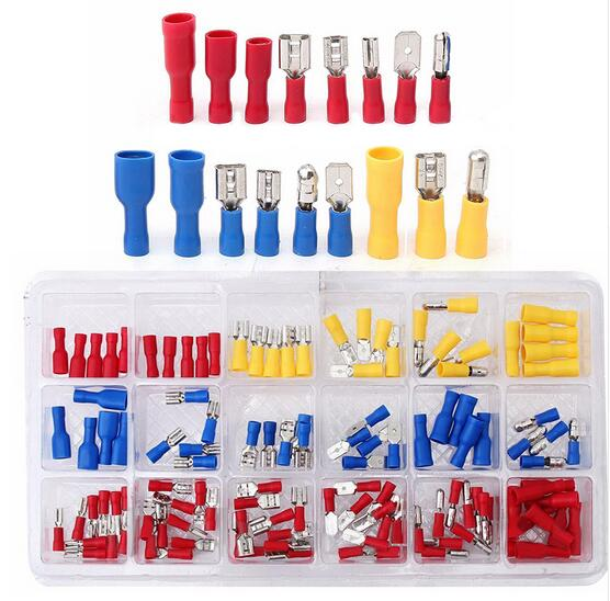 120pcs Insulated Crimp Butt Spade Ring Fork Terminal Wire Connector Kit Set 22-10AWG Terminals 1000pcs non insulated spade terminal snb3 5 6