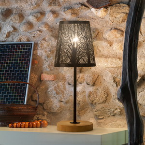 Image 3 - OYGROUP Wrought Iron Hollow Lamp Shade + Wood Base, E14 Table Lamp for Bedside Study Room Living Room No Bulb