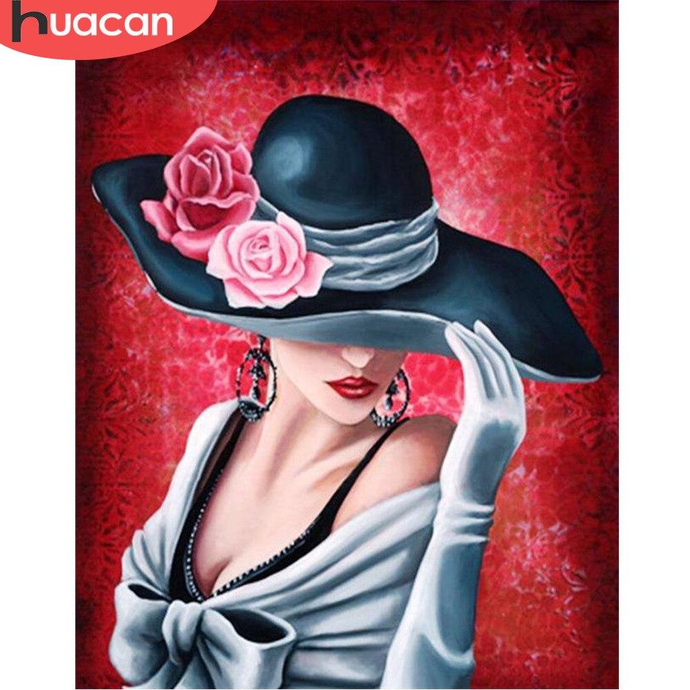 HUACAN Diamond retrato de mosaico hermosa chica diamante pintura Set pasatiempos y artesanía Decoración Para sala de estar DIY foto de diamante de imitación