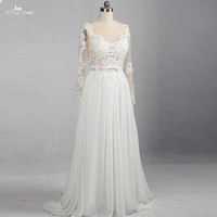 RSW1159 Real Pictures Yiaibridal Transparent Corset Long Sleeves Chiffon Beach Wedding Dress