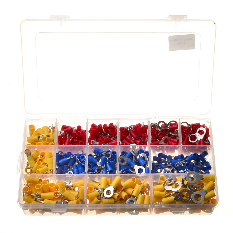650Pcs Assorted Insulated Terminals Electrical Wire Cable Crimp Butt Ring Terminals Connector Assortment Kit цена
