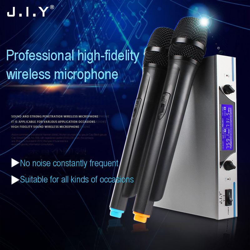 JIY Professional Wireless mixer audio microphone Dual Wireless Cordless Dual Channel Microphones Mic For KTV DJ Karaoke computer стоимость