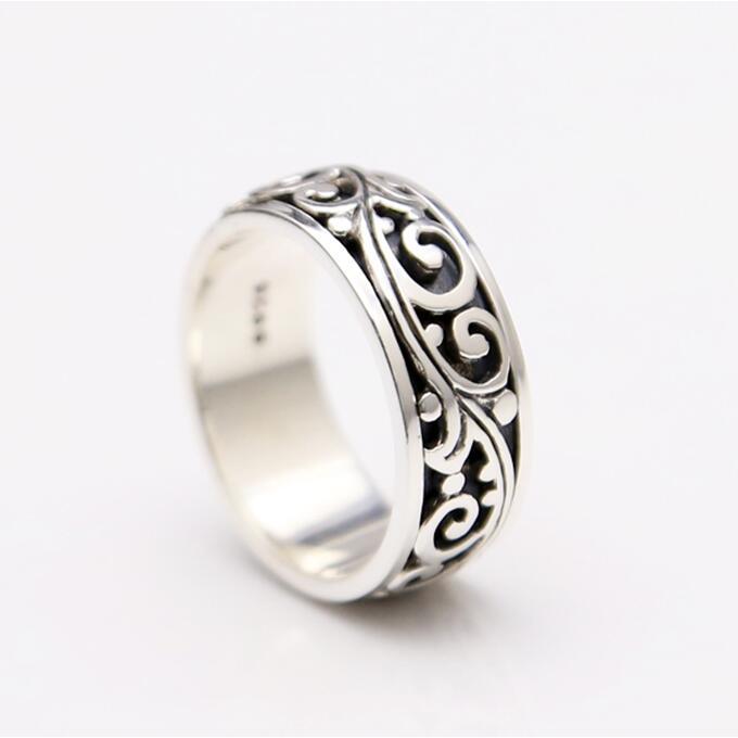 Твердые стерлингового серебра 925 вращающийся счетчик Кольца Для мужчин Простой Группа Элегантный Винтаж лоза центр Прохладный моды Для муж...