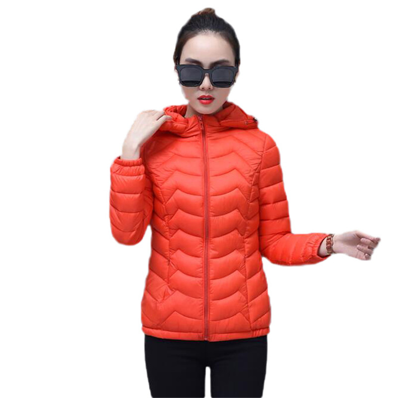 Winter Women Jacket Cotton   Parkas   2018 Autumn New Slim Short Coat Thin Light Female Coat Large Size L-4Xl Hooded Jacket DT0314