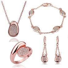 GP Полный Стразы форма гороха кулон ожерелье+ серьги+ браслет+ кольцо модный бренд комплект ювелирных изделий