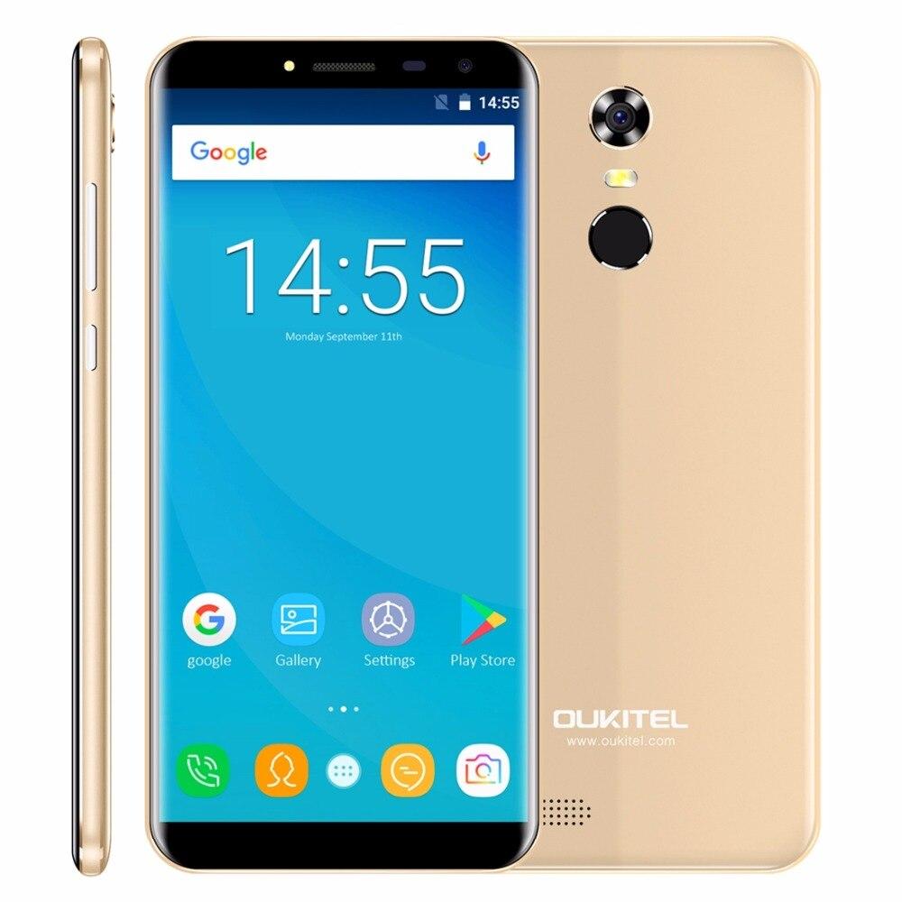 """Oukitel C8 соотношением сторон 18:9 Мобильный телефон 5.5 """"HD 4 ядра 1.3 ГГц 2 ГБ/16 ГБ Встроенная память 13MP android 7.0 3000 мАч сзади Touch ID смартфон"""