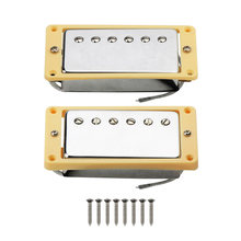 FLEOR 2 stuks Alnico 5 LP Humbucker Gitaar Pickup Set Chrome Neck & Bridge Pickup met Crème Gebogen Frame(China)