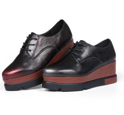 ФОТО 2017 Retro Platform Heels Women Shoes High Heel Genuine Leather Women Shoes Pumps Lace-up Dames Schoenen Chaussure Femme Sexy