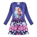 Anna elsa vestidos de partido tutu tops niñas bebés ropa de los niños kids clothes imprimir princesa disfraces para niños de cumpleaños de manga larga