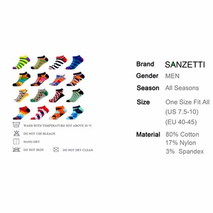 Image 2 - SANZETTI 16 Pairs/Lot Men Casual Colorful Summer Socks Combed Cotton Happy Ankle Socks Plaid Stripes Geometric Boat Socks Gift