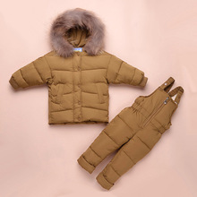 Winter Overalls for Girls Duck Down Jacket Kids Snowsuit Toddler Outerwear Boys Jackets Children Suits Coat+Bib Pants 1-3 Years