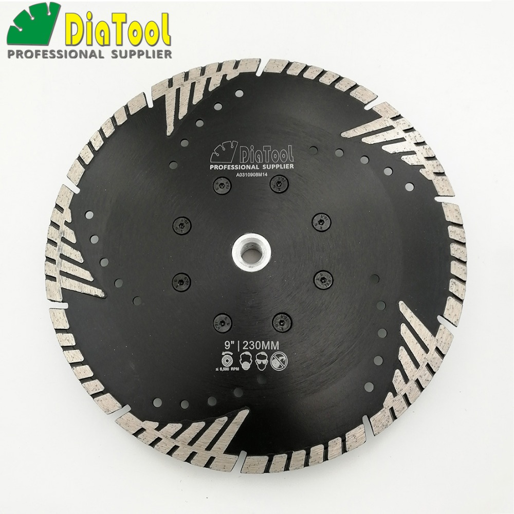 DIATOOL 230mm Hot pressed Diamond turbo Blade with Slant protection teeth 9 Diamond Blades for stone concrete cutting with M14 12 72 teeth 300mm carbide tipped saw blade with silencer holes for cutting melamine faced chipboard free shipping g teeth