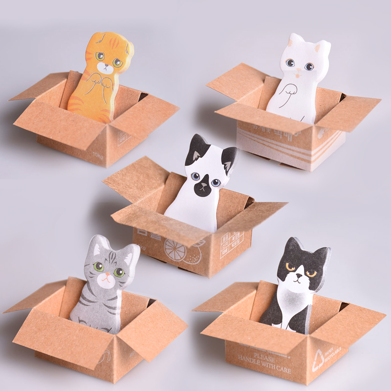 Kawaii Cat Dog Box Stickers Korean Style Stationery Sticky Notes Office School Stationery Supplies Notebook Memo Sticker Paper