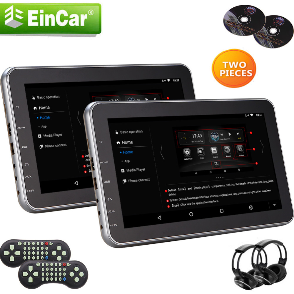 2 Headphonesz & Remote Control+2 x10.1 Auto Car Headrest DVD Player Monitor Games IR FM Transmitter Car DVD Auto Seat Headrest