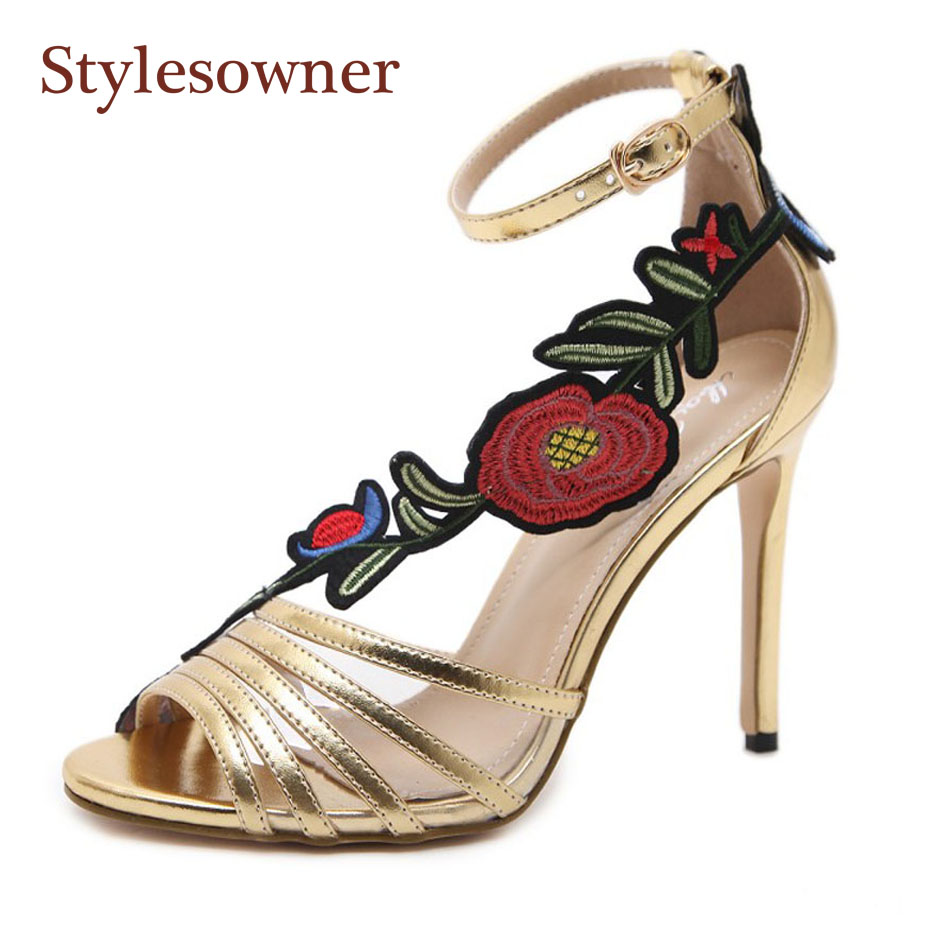 Stylesowner 2018 runway style summer new embroider flower high heel sandal peep toe buckle strap sexy lady sandal stiletto heels stylesowner elegant lady pumps sandal shoe sheepskin leather diamond buckle ankle strap summer women sandal shoe
