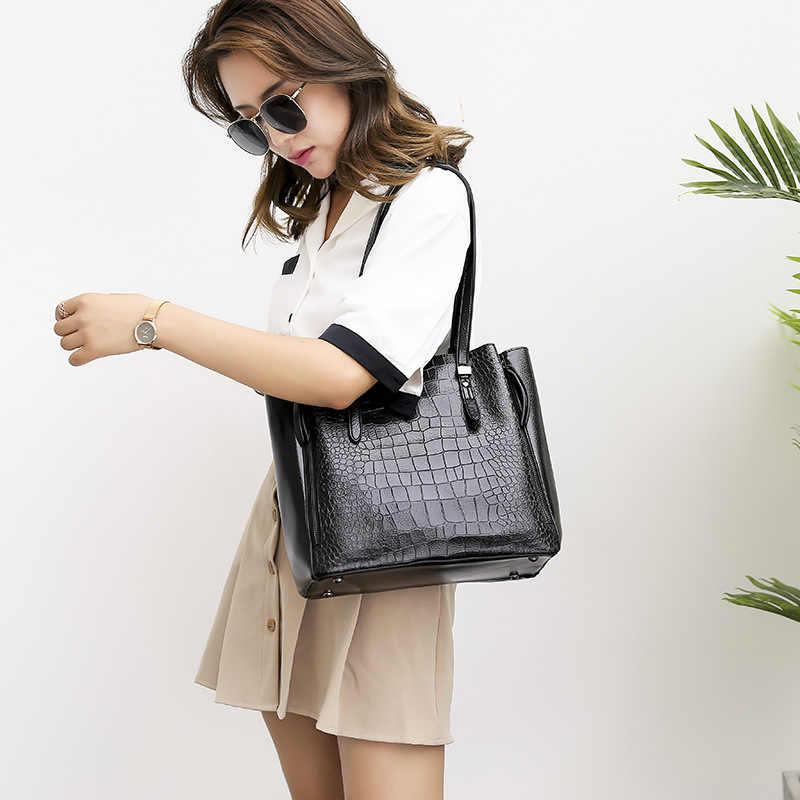 Mode femmes modèle sacs à main en cuir véritable sacs pour femmes 2019 femme messager décontracté dames épaule Crocodile sac N415