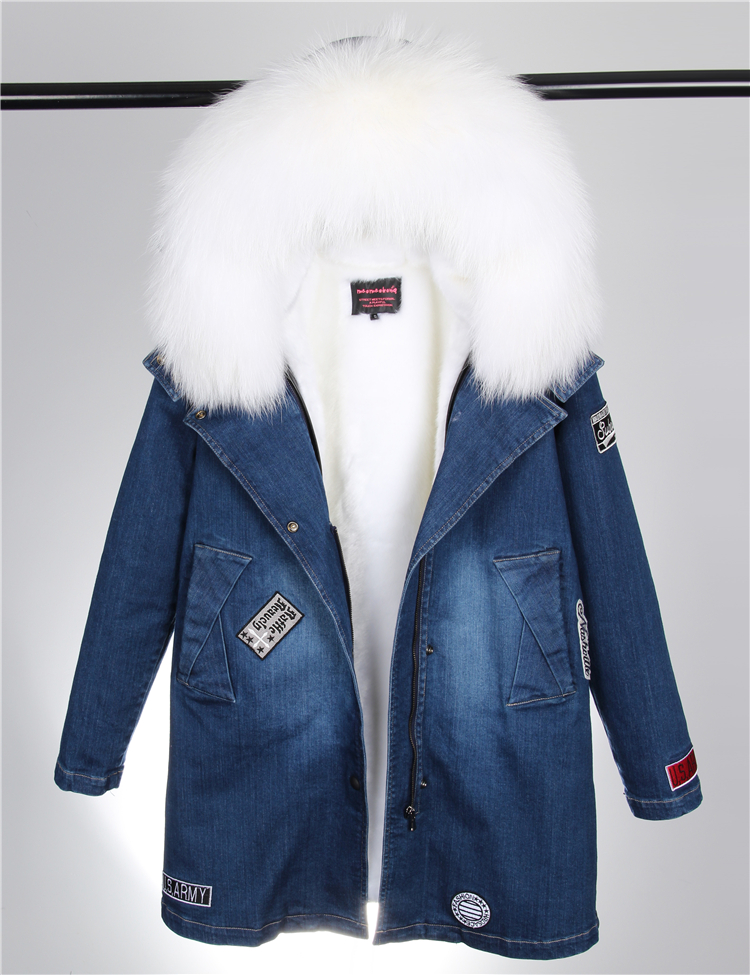 2017 autumn winter jacket coat women Holes Denim long jacket real large raccoon fur collar and faux fur thick warm Liner 2017 autumn winter jacket coat women holes denim long jacket real large raccoon fur collar and faux fur thick warm liner
