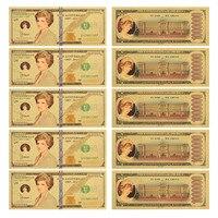 WR 24 К красочные золото банкноты Принцесса Диана золото Фольга Примечание деньги подарок сувенир для коллекции 10 шт.