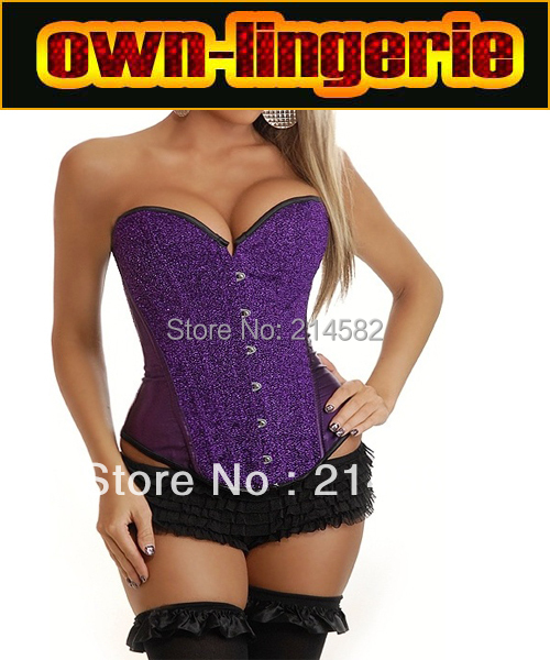 Free Shipping Overbust Strapless   Bustiers   Purple Paillette   Corsets   with Tutu Skirt   corset   women clothing w7059