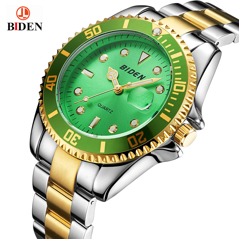 ROLE style relogio masculino BIDEN Mens Watches Top Brand Luxury Fashion Business Quartz Watch Men Sport Steel Waterproof C luxury brand biden mens watches multi time zone casual quartz wrist watch men mesh stainless steel band relogio masculino