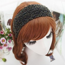 Korea Flowers Hand Made Embroidery flowers Retro Hair Accessories Diamond Band Bows Flower Crown Headbands For Women 4