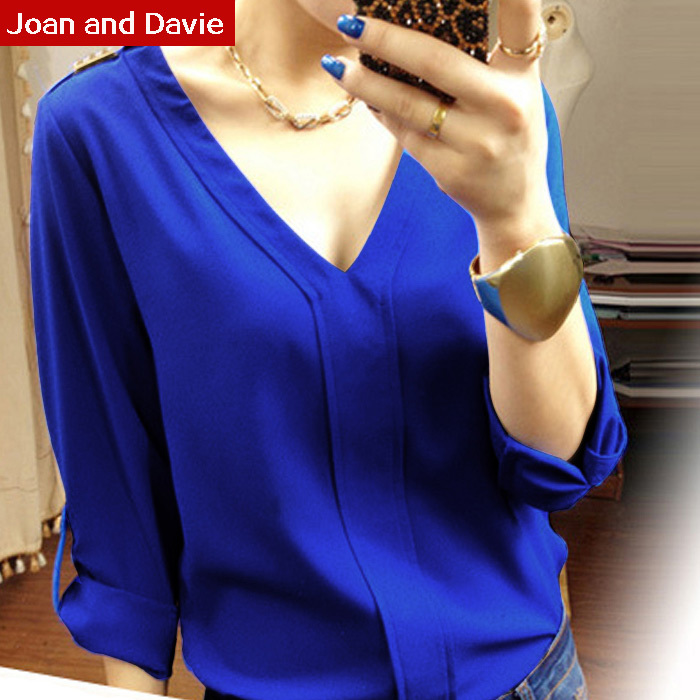 2015 Spring summer new women Long sleeved variable seven Quarter Sleeve Chiffon royalblue shirts feminine blouses plus size - Joan and Davie store