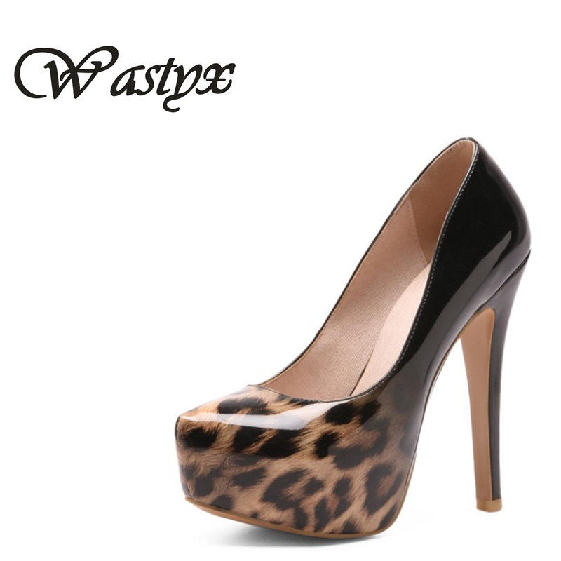 Wastyx 2018 Women Pumps Sexy Printed Leather PU Shoes Thin Super High Heels round Toe Platform 5.5cm Women Fashion Shoes Size цена