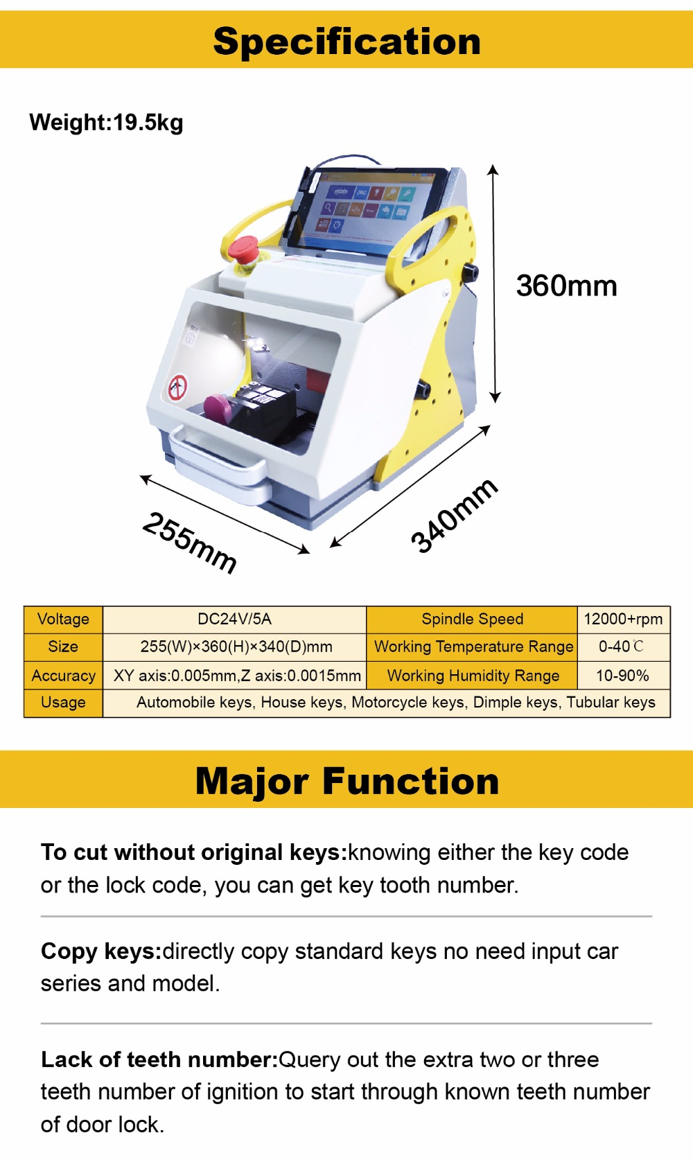 2018 2 Clamp + Original Sec E9 Laser Key Cutter ,Locksmith