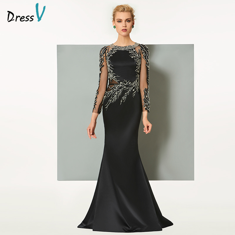 Dressv black long evening dress elegant scoop neck sweep